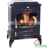Cast iron smokeless wood burning stove with back boiler