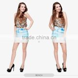 fancy girls hot summer beach girls tight slim mini skirt high quality 3d digital full print custom hot sale tube stretchy skirt