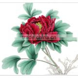 2016 hot seller 100% handmade beauty flower peony painting on special silk canvas flowers