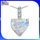 Wholesale simulated austria crystal silver heart shape fire opal pendant
