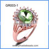 Wholesale Fashion Jewelry Exquisite Rose Gold Plated Alloy Glass Crystal Fake Diamond Engagement Ring For Women GR003