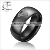 Men's Fashion 8MM Black Tungsten Carbide Rings with Superhero Superman Mark Signet Seal