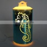 Fancy sea horse usb glass candle light aroma diffuser with clock