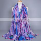 Purple big floral printed scarf Girl's beautiful tassels shawls viscose fashion design muslim headband Pashmina/scarves