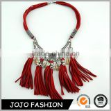 Fashion Multilayer Red Chain Clear Crystal Bead Tassel Statement Choker Necklace