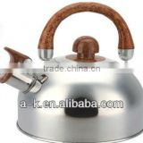 #201 single & capsule bottom inexpensive stainless steel whistling kettle with wood handle
