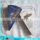 Customer special design triangle shape compressed towel fan-shaped compressed beach towel with velour printing