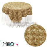 Wedding rosette satin table cloth table overlay                                                                         Quality Choice