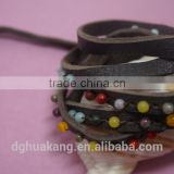 Soft Feel and Beautiful design Artifical Pearl Beaded Sewing 5 wrap leather bracelet