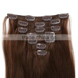 indian virgin clip in hair extensions Double Drawn Thick Ends Clip In Hair Extension weave