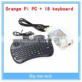 Orange pi pc KIT raspberry pi2 banana pi cubieboard with the case and the power supply with black color Rii mini I8 keyboard
