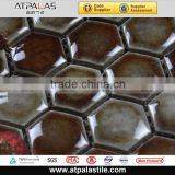 Hex Ceramic Tile collection-brown non-slip ceramic bathroom wall tile, floor & pool mosaic E27LH-01
