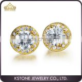 KSTONE Dubai fashion jewellery AAA zircon copper Gold Plated diamond stud earrings