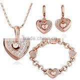 wholesale valentine gifts fashion gold platingdiamond necklace heart earring bracelet necklace set