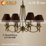 Classical wrought iron cloth fabric pendant lamp cloth shade for home study bedroom chandelier