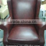 red leather wing chair button sofa