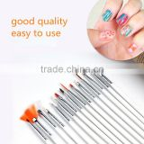 Wholesale 15pcs per set wood handle nail round oil artist paint brush pen set for art painting
