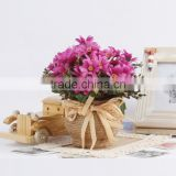 Attractive home table wedding decorative silk flowers chrysanthemum artificial small potted plants