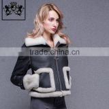 Fashion winter double face coat sheepskin jacket women motorcycle stylish leather jacket