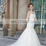 Exquisite Appliqued and Beaded See Through Back Mermaid Lace Straps Tulle Wedding Dress Bridal Gown