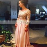 High Quality Chiffon Bateau Floor Length Long Sleeve Beaded Long Gown Backless Peplum Appliqued Evening Dresses