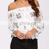 MIKA72067 Elegant Apparel Adult Women Chiffon See Through Floral Blouse Made In China Women Clothing