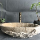 China Beige Travertine Bathroom Vessel Oval Sink Natural StoneWash Basin