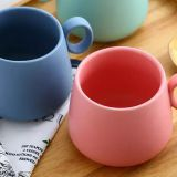 Wholesale customized logo Milk Coffee Cup Makaron Color Plain Clay Ceramic Mugs with Handle