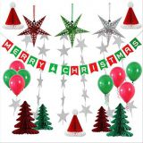 Paper Honeycomb Party Decorations Merry Christmas tree hat star balloon Bunting Banner Flag