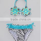 kids new design of Black & Blue Zebra Floral Bikini