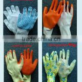 hot sale 13G nylon nitril glove,latex cotton glove,pointed beads cotton glove,nitril garden glove