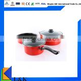 Red color of outdoor non-stick cookware set with inner non-stick telflon coating