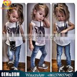 Hot Sale 2016 European Modeling Summer Girl Cloth Set Sleeveless Cat Printed Shirt + Denim Jeans 2pcs Cloth Set