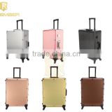 2016 Popular Black Professional Aluminum Trolley Cosmetic Makeup Case with Lighted Mirror and Legs stand up pouches