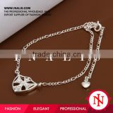 2014 little heart charm eco friendly silver baby anklet A003