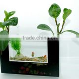 desktop mini multi-use acrylic aquarium,clear fish tank with black U shaped flowerpot