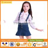 Wholesale Girls Denim Overall Dress Backless Suspender Mini Fishtail Summer Skirt For Kid