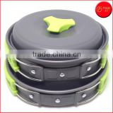 Hot New Green 10PC light aluminium cooking pot set mess kit Outdoor Camping Hiking Cookware Backpacking Picnic Bowl Pot Pan Set