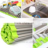 Folding Drain Rack Vegetable Rinsing Station - Stainless Steel Washing Station and Coladnder Drying Tray