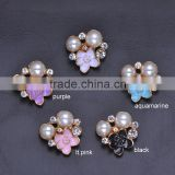 (M0318) 19mmx20mm rhinestone metal embellishment,silver plating,flat back,light rose gold plating
