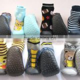 non slip baby shoes cotton socks with rubber bottom sole