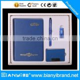 Top quality Dairy with name card box,USB flash driver in blue color gift set