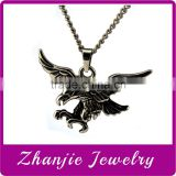 Cheap wholesale Fashion Casting 316L Stainless Steel Animal Themed Flying Eagle Pendant With Black Enamel