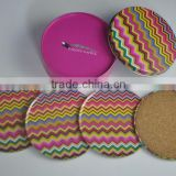 Hot sale 4pcs per set tinplate coasters set / tin cork drink coaster tinplate box packing