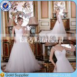 2015 Royal sweetheart neckline modern straps design sleeveless hand made lace tunisian bridesmaid dress