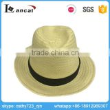 Lancai-Competitive price bright in colour wholesale fashion beige paper straw fedora hat