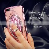 Hot New for iPhone 7 Plus Luxury Diamond Case Electroplating TPU Case with Rhinestones & Ring Holder