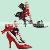 Handmade Red Black Elf High Heel Shoe Christmas Ornament