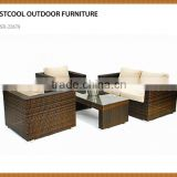 Garden dining sofa set with umbrella and ottman for hotel resort restaurant bali rattan outdoor furniture