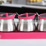 glass spice jar salt petter sugar bottle with spoon and metal coating pink